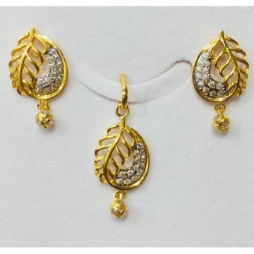 22kt gold leaf design pendant set nj-p015