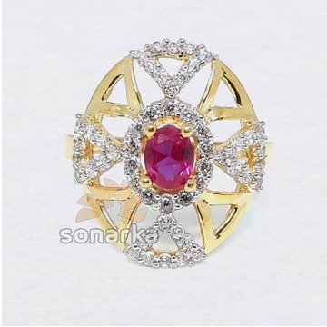 22k CZ Diamond Gold Ring Royal Design for Ladies