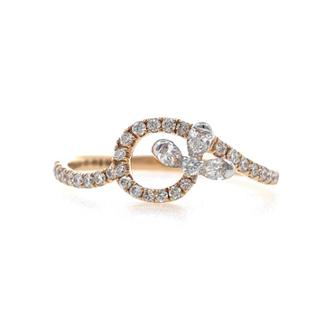 Jolie Diamond Ring for Everyday Wear with Pear & Round Diamonds in 18k Rose Gold - VVS EF - 0.30 carats - 1.640 grams - 0LR35