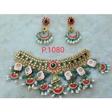Beautiful Green And White Ahmedabad Kundan And Pink (Meena) enamel Kundan's Necklace Set 1101
