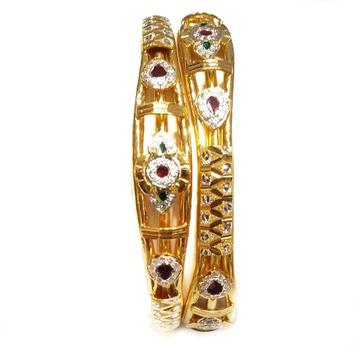 22kt gold cz diamond kadali bangles mga - gk055