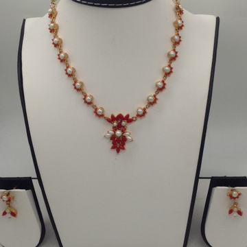 Freshwater White Button Pearls And Orange Corals Necklace Set JNC0051