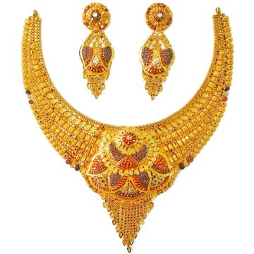 22k gold kulkatti half necklace set mga - gn0037
