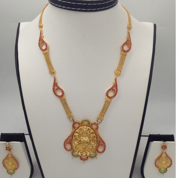 Red and Green Stones Laxmi Necklace Set JNC0040