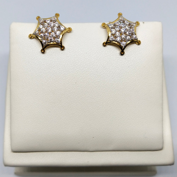 18KT gold star shape diamond earring dj-e004