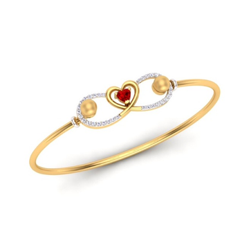 916 Gold CZ Heart Design Bracelet SO-B005 by S. O. Gold Private Limited