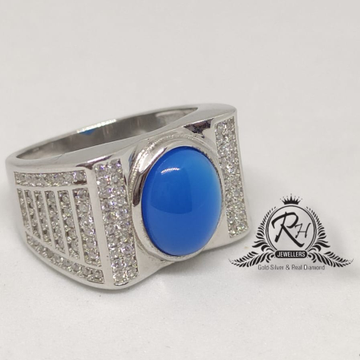 92.5 silver blue stone gents ring Rh-Gr946