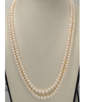 Freshwater white flat graded pearls necklace 2 layers