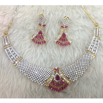 916 Gold Fancy Diamond Necklace Set For Wedding RH-N004