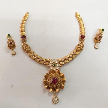 916 Gold Antique Flower Design Necklace Set BJ-N005