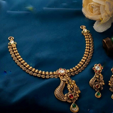 22KT / 916 Gold antique wedding half necklace set... by