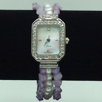 Freshwater Button Pearls And Purple Semi Beeds Watch JBG0216