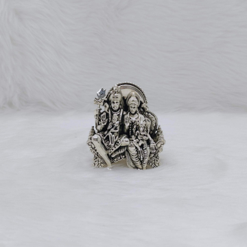 Real silver idol of shiv pariwar studded with anti...