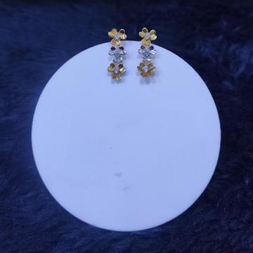 22KT/916 Yellow Gold Drop Flower Earrings For Women