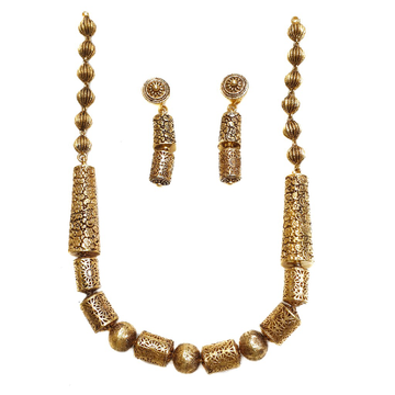 22k Gold Rajwadi Mala Necklace With Earrings MGA - GLS071