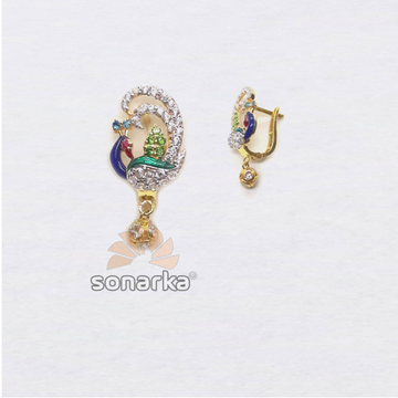 916 Gold Peacock Shape CZ Diamond Earring