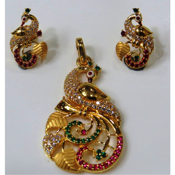 22kt gold casting cz peacock design pendant set ps-01