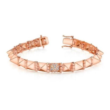 18kt rose gold with diamonds in square patterned bracelet for women  jkb025