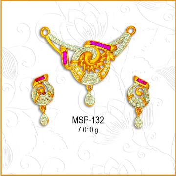 916 Gold Fancy CZ Diamond Mangalsutra Pendant Set MSP-132