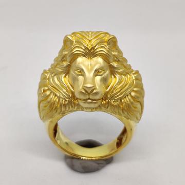 916 gold fancy gent's lion face ring
