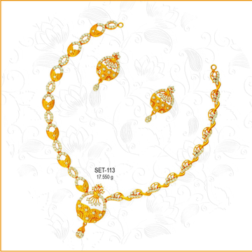 916 Gold Delicate CZ Necklace Set-113