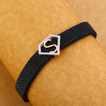18KT Cz Rose Gold Classic Leather Men's Bracelet MLB260
