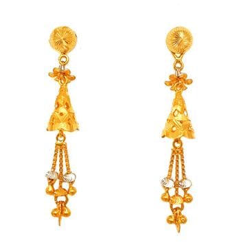 22K Gold Long Jumkha Earrings MGA - BTG0347