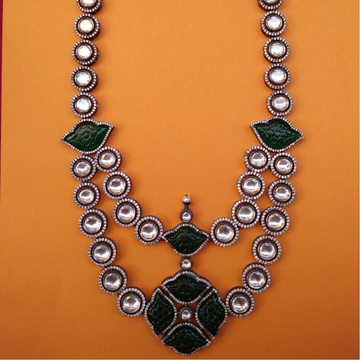 Puran Long Two Layered Kundan Toda Necklace with Carved Onax
