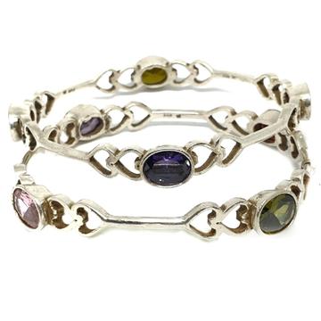 925 sterling silver heart shape colour stone bangle mga - kds0153