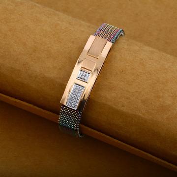 Imported Rose Gold 18K Fancy Spring Mens Leather Bracelet-MLB09