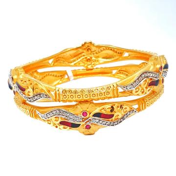 One gram gold forming 2 piece kadali bangles mga - kde0012