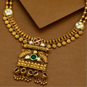 916 Gold Antique Peacock Design Necklace Set
