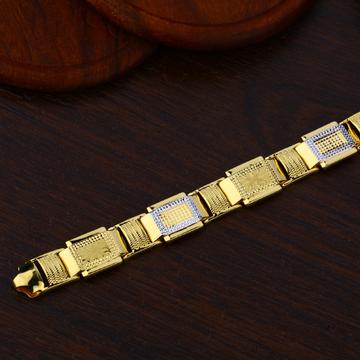 Mens Gold Cz Plain Bracelet-MPB75