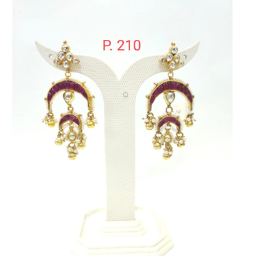 Gold tone kundan design Pink (ruby)stone with beads earring 1525