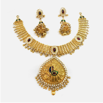 916 Gold Designer Bridal Necklace Set RHJ-0002