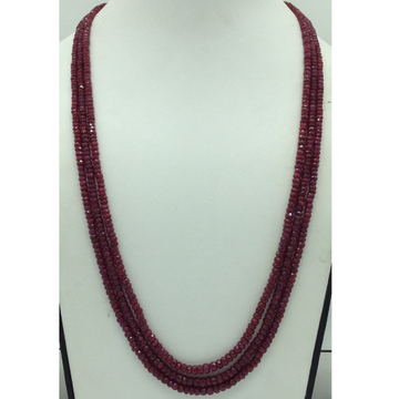Natural Red RubyRound Faceted Beeds 3Layers Neck...