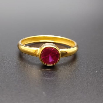 18 ct gold ring red round diamond