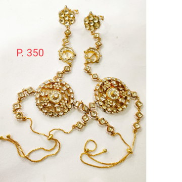 Wedding gold polish kundan & moti hath panja for women 1407
