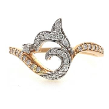 18kt / 750 rose gold fancy contemporary diamond ri...