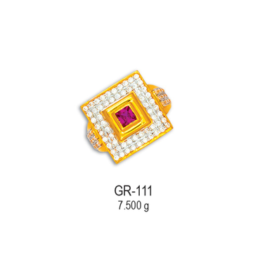 22KT-CZ-Gold-Square-Shape-Gents-Ring-GR-111