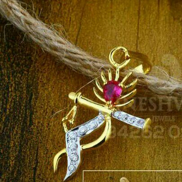 18kt Cz Gold Krishna Design Fancy Pendant