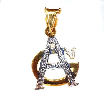 916 Gold CZ Diamond AG Later Monogram Pendant MGA...