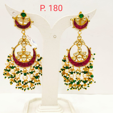 Gold Tone Ruby Stone Earring With Hanging White & Green Moti 1716