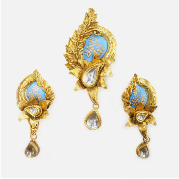 916 Gold Antique Meenakari Pendant Set RHJ-3164