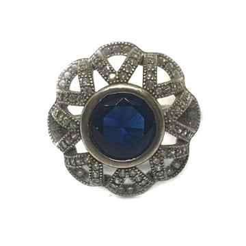 925 Sterling Silver Dark Blue Stone Ring MGA - LRS0062
