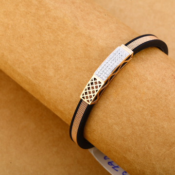 18KT Cz Rose Gold Stylish Leather Men's Bracelet MLB256