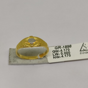 916 Gold CZ Gents Ring sOG-R98 by S. O. Gold Private Limited