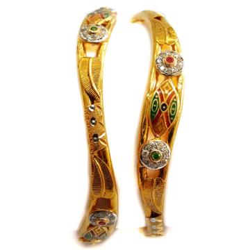 22k Gold Meenakari CZ Diamond Meenakari Copper Kadli bangles MGA - GK016