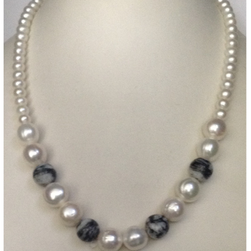 Freshwater White Round Pearls Mala with Semi Precious Beeds