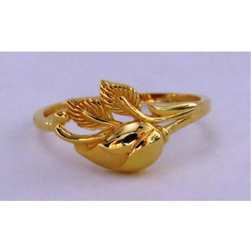 22kt gold plain casting feather ring for women
